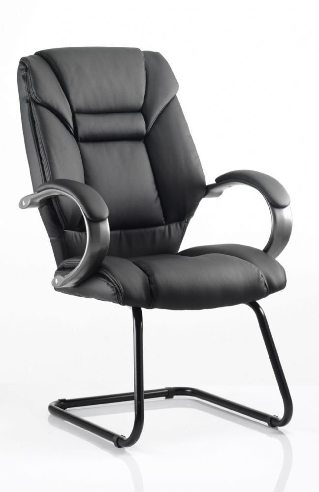 Galloway Cantilever Visitors Chair High Back Bonded Leather Padded Arms Black Bonded Leather